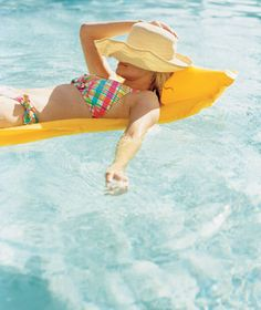 Woman in plaid bikini and sun hat floating on a yellow floatie in pool  #TooFacedSummer Doing Laundry, Laundry Hacks, Pool Chlorine, How Do I Get, Real Simple, Cleaning Hacks, Helpful Hints, Swimsuit, Creative Ideas