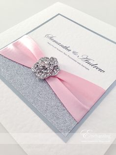 "Pink Sparkly Wedding Invitations | The Cinderella Collection - Classic Fold Invitation | Featuring silver glitter paper, pink Berisford ribbon in shade 400, and ""Rosemoor"" embellishment 