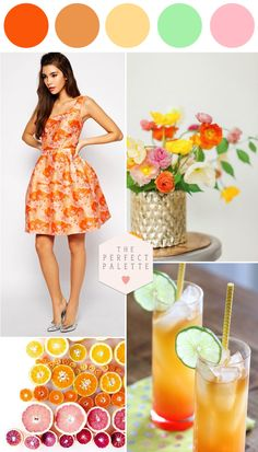 Citrus Inspired Wedding Color Palette! www.theperfectpalette.com - Color Ideas for Weddings + Parties!