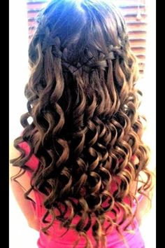 Waterfall braid with curly hair!