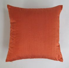 On 40% discount. Dark orange dupioni silk cushion cover. Throw pillow 18 inch last one pc.