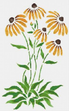 Orange Coneflowers Cross Stitch Pattern Flower by xstitchpatterns