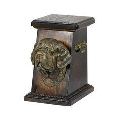 Urn for dog's ashes with a St. Cremation Boxes, Dog Cremation, Brass Handles, Dog Care, Urn, Your Pet, St Bernards, Saints, Lion Sculpture