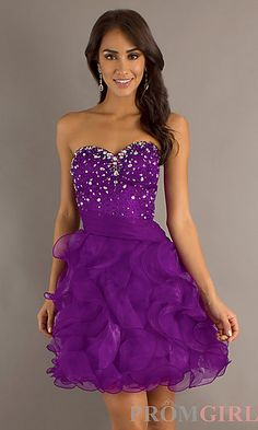 Short Strapless Purple Prom Dress at PromGirl.com
