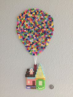 The house from Up! (Pixar movie) done in perler beads by darth_balooThe house from Up! (Pixar movie) done in perler beads by darth_baloo Perler Bead Designs, Hama Beads Design, Perler Bead Templates, Diy Perler Beads, Perler Bead Art, Pearler Beads, Fuse Beads, Hama Beads Coasters, Melty Bead Designs