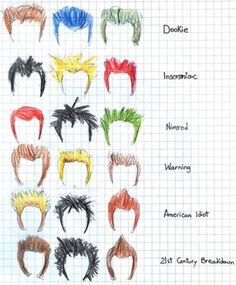Green Day Hair Evolution... this is cute~Jazeebelle