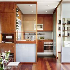 modern interior design for small spaces, apartment with space dividers - love this efficient kitchen