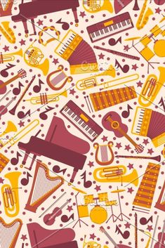Musical instruments in seamless pattern, vector illustration. Wrapping paper with icons of piano, harp, drums, guitar and accordion. Isolated emblems in flat style. Drum Musical Instrument, Musical Instruments, Photo Backpack, Flat Style, Harp, Drums, Piano, Wrapping, Musicals