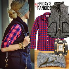 I love vests with flannel and a good scarf, perfect for late fall and early winter
