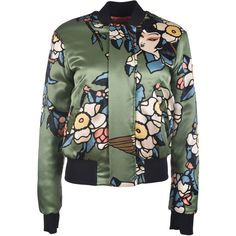 Dsquared2 Printed Bomber ($900) ❤ liked on Polyvore featuring outerwear, jackets, coats, jacket bomber, green, green bomber jacket, bomber style jacket, bomber jacket, green jacket and long sleeve jacket