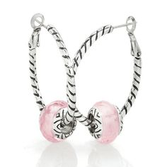 Pink glass on oval hoops