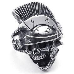KONOV Jewelry Mens Stainless Steel Ring, Gothic Knight Helmet Skull, Black Silver, Size 11. Check it out at skullcart.com #skull #skulls #ring #skullcart #jewelry