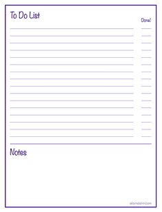Lined To Do List with Notes :: Organized Life {Free Printable} — Alaina Ann Design To Do Lists Printable, Daily Planner Printable, Free Planner, Printable Labels, Planner Pages, Free Printables, 2018 Planner, Printable Stickers, Happy Planner