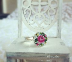 Silver ring with embroidery Ag 925, Embroidered ring, Sterling silver ring, Flower ring, Dainty ring, Round ring, boho ring, Roses ring by SlivkAtelier on Etsy