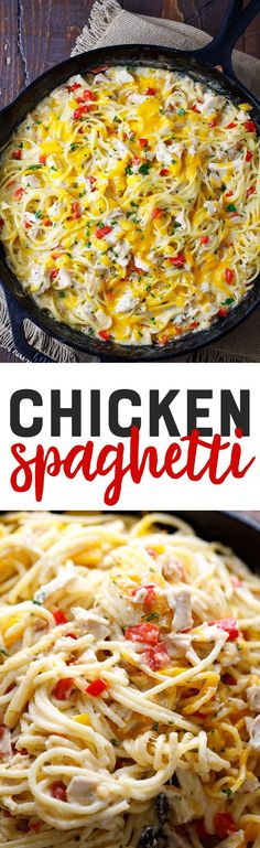 This easy chicken spaghetti recipe is creamy, flavorful and delicious