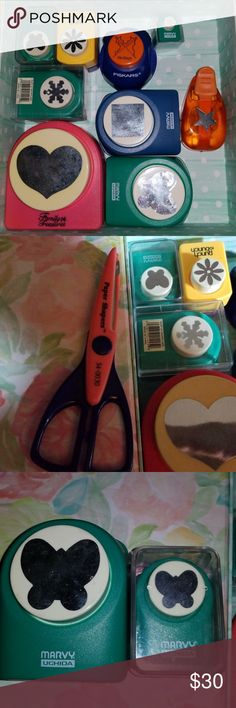 """Paper punches for crafting lot 9 paper punches,  1 large heart 2 5/8 """" 2 snowflakes,  mini & small 1 medium butterfly & 1 small 1 small daisy 1 small star 1 medium square 1 wave scissor Other"""