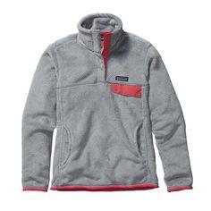 Patagonia Women\'s Re-Tool Snap-T\u00AE Fleece Pullover - Tailored Grey - Nickel X-Dye w\/Shock Pink TGXP