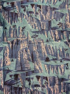 vintage 1950s | blue cliffs + pines | printed on cotton fabric