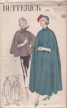 MOMSPatterns Vintage Sewing Patterns - Butterick 4839 Vintage 40s Sewing Pattern ELEGANT Cropped, Regular or Ballerina Length Cape, Cloak, Arms Slits, Rainwear, Make it in Fabric or PLASTIC!