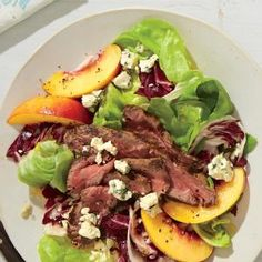 Superfast Summer Salads | Steak Salad with Nectarines, Radicchio, and Blue Cheese  | MyRecipes.com