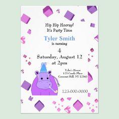 Purple Hippo Birthday Party Invitation