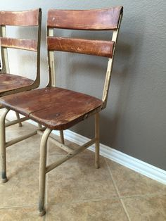 Set of 2 Vintage Shabby Chic White Chairs Distressed Wood