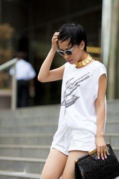 Balenciaga tunic, F21 linen shorts, YSL shoes, Super sunnies, vintage necklace and Vintage crocodile clutch