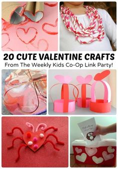 20 Cute Valentine Crafts + The Kids Co-Op Link Party at B-Inspired Mama