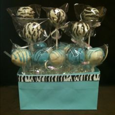 Tiffany blue and zebra cake pops!