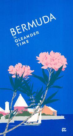 Bermuda in Oleander Time. This vintage travel poster shows Oleanders in bloomon the island of Bermuda.Circa 1940. Illustrated by Adolph Treidlerh