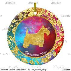 Scottish Terrier Gold Red Blue Ceramic Ornament