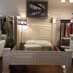 White Bed - King sz. Bed White Crackle Paint  - $399.95 | Too Good To Be Threw Designer Consignments - San Antonio, TX