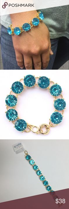 Blue Crystal Bling Bracelet You will love this beautiful blue crystal bling bracelet! Material: gold plated alloy, man made stimulated crystals Wila Jewelry Bracelets