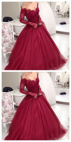 Charming Prom Dress,Long Prom Dress,Gowns Long Sleeve Tulle Evening Dress,Women…