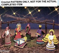 Crochet Patterns Folk Art Creche Nativity Scene 6 Figures | eBay