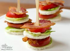 BLT Tea Sandwiches. The flavors are so refreshing, who needs the bread? These make the perfect appetizer for those spring parties ahead!