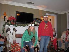 """""""Jingle Bell Rock"""" Game - Play 2 or 3 at a time and have """"face offs"""" with the winner of each round.  A pedometer was placed on a sweatband that was then placed around the contestants head. Normally, a pedometer is used to sense body motion and count footsteps while walking or running. In this challenge, it was used to count head jerks. We did face-offs so the winner was the individual who had the highest number on their pedometer."""