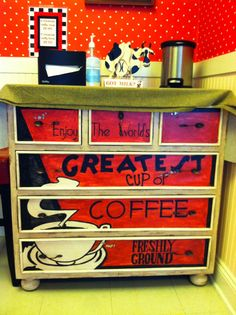 You can use a cabinet, shelf, or be creative, and voila!  A chic little home coffee bar!