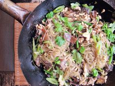 GLASS NOODLES WITH CHICKEN AND MUSHROOMS (ground chicken, cilantro, green bird chilies, shiitake, oyster mushroom, celery, chicken stock, scallion)