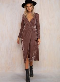 princess Polly Lucille velvet wrap dress