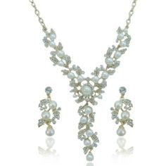 Ever Faith Clear Faux Pearl Clear Austrian Crystal Flower Leaf Necklace Earring Set Ever Faith. $35.95. Necklace Size 17.72. Attachment 5.12 long by 2.17 wide. Earring Size 1.77 long by 0.79 wide.. This one is a unique jewelry, it will fit for the brides and bridesmaid perfect.. This is an ideal jewelry set to attend any occasions, especially for weddings, evening parties and proms.