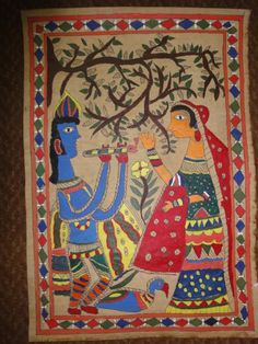 Indian Folk Art- Madhubani painting done by my 11 year old daughter