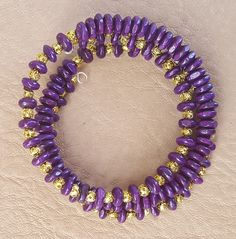 Purple and Gold Memory Wire Stainless Steel Bracelet by KalaaStudio on Etsy
