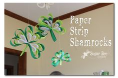 Add a little green with these colorful Paper Strip Shamrocks ~ Sugar Bee Crafts