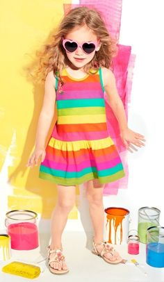 Paintbox | Toddler girls' fashion | Kids' clothes | Sleeveless Rainbow Stripe Dress | The Children's Place