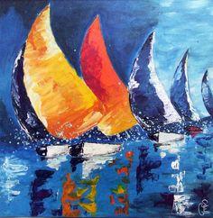 Tableau peinture acrylique sur toile, « balade en mer »                                                                                                                                                     Plus