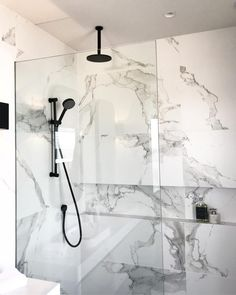 Modern Bathrooms With WOW Factor Marble Bathroom Black and Marble Bathrooms Black Tapware and White Marble Walls Modern Marble Bathrooms Modern Bathrooms With WOW Factor Walk In Shower Framed Black Screen, Modern Marble Bathroom, Bathroom Design Small, Bathroom Interior Design, Modern Bathrooms, Bathroom Black, Black And White Master Bathroom, Carrara Marble Bathroom, Master Bathrooms, Bad Inspiration