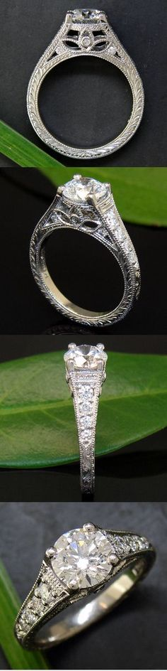 Beautiful craftsmanship~ This handmade platinum engagement ring with custom engraving and delicate migraine comes from the Seattle-based custom design house, Green Lake Jewelry Works – the workshop tends to produce only one-of-a-kinds, so really anyone can get an original…
