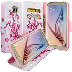 Galaxy S7 Edge Case Samsung Galaxy S7 Edge Wallet Case Wrist Strap Flip Folio [Kickstand Feature] Pu Leather Wallet Case with ID&Credit Card Slot For Galaxy S7 Edge Pink Lotus