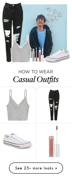 """Casual date with Kian"" by highoffofmagcon on Polyvore featuring Topshop, Converse and Urban Decay"